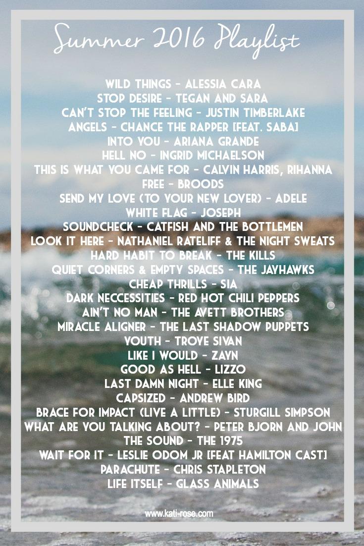 Summer 2016 Playlist Tracklist